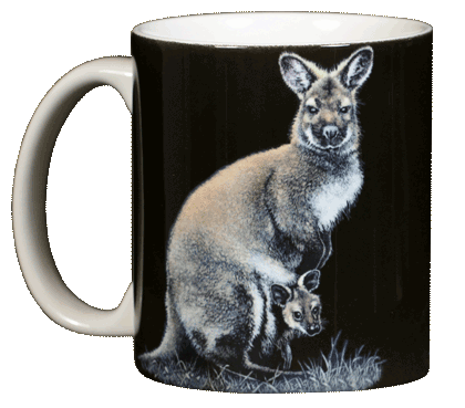 Kangaroo Ceramic Coffee Mug - Front