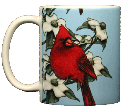Cardinal Perching Ceramic Mug