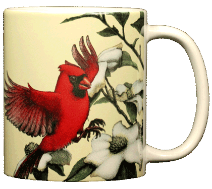 Cardinal & Dogwoods Ceramic Mug - Back