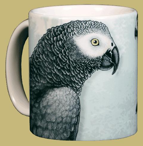 African Grey Ceramic Mug - Front