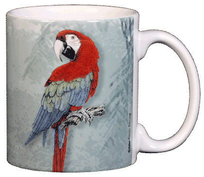 Green Wing Macaw Ceramic Mug - Back