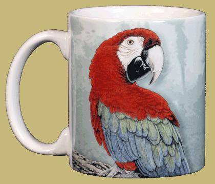 Green Wing Macaw Ceramic Mug - Front