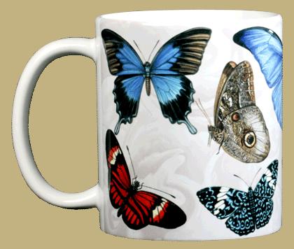 Exotic Butterflies Ceramic Mug - Front