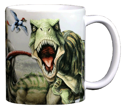 Dinosaur Trio Ceramic Mug - Back
