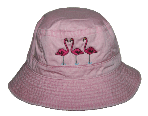 Flamingos Embroidered Bucket Cap