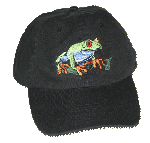 Red Eyed Tree Frog Embroidered Cap - Front