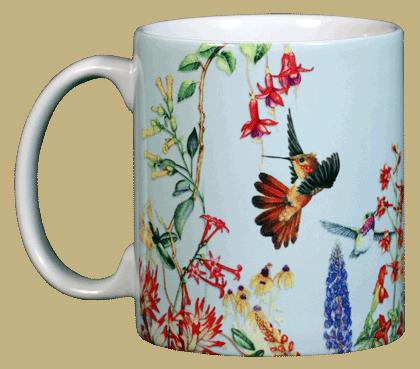 Hummer Garden Ceramic Mug  (blue) - Front
