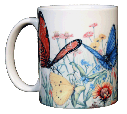 Butterfly Garden Ceramic Mug - Front