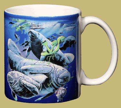 Florida Manatee Ceramic Mug - Back