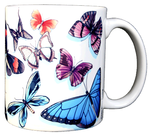Butterfly Swirl Ceramic Mug - Back