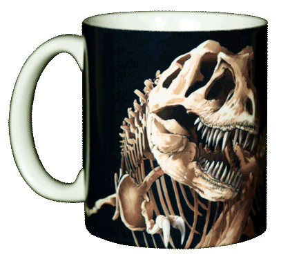 T-Rex Skeleton Ceramic Mug - Front
