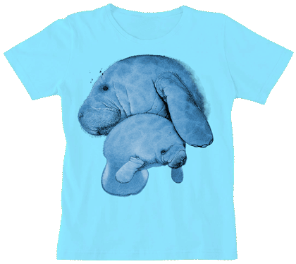 Manatee Hug Ladies Scoop Neck T - Front