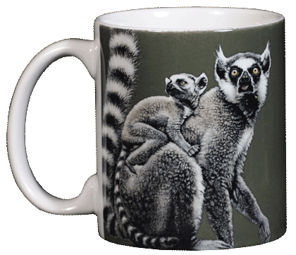 Ring-tailed Lemurs Ceramic Mug - Front