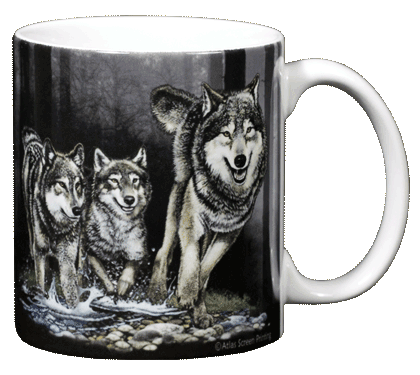 Wolves Ceramic Mug - Back
