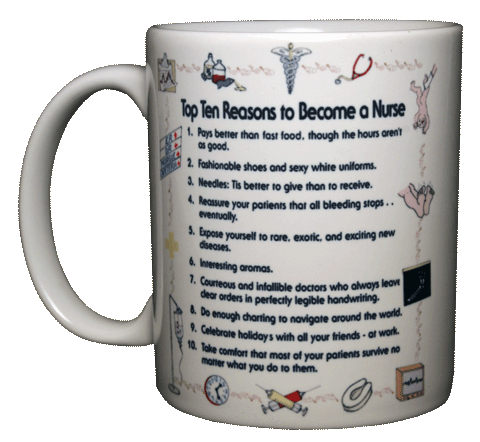 Top Ten Nurse Ceramic Mug - Front