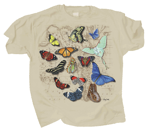 Butterflies of World Adult T-shirt - Front