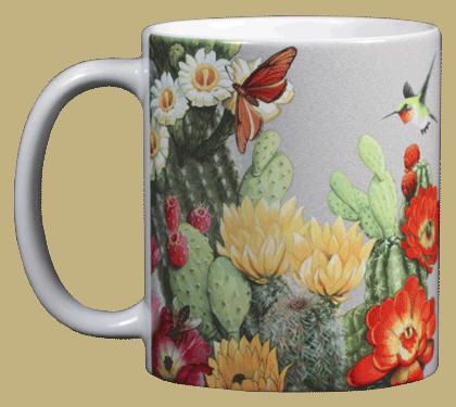 Cactus Flowers Ceramic Mug - Front