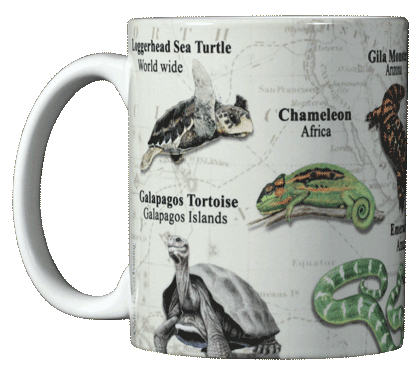 Reptiles of the World Ceramic Mug - Front