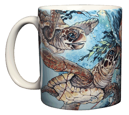 Sea Turtle Splash Ceramic Mug - Front