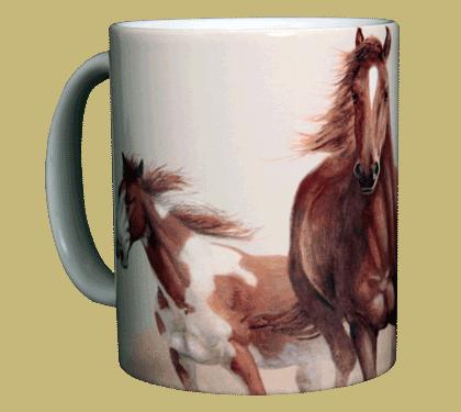Horses Heads & Tails Ceramic Mug - Front