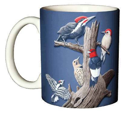 Woodpeckers Ceramic Mug - Front