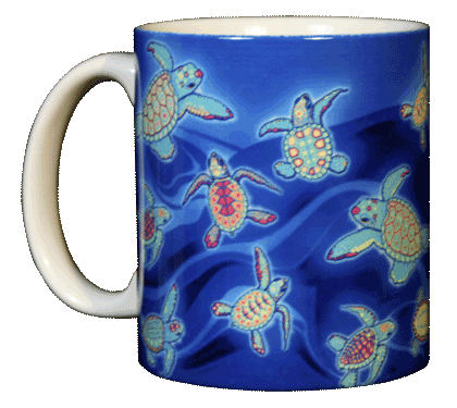 Sea Turtle Glow Ceramic Mug - Front