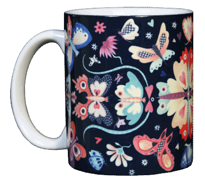 Butterfly Circle Ceramic Mug - Front