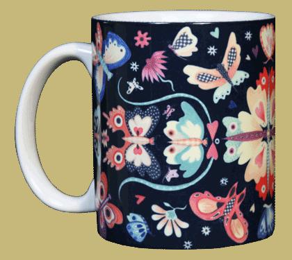 Butterfly Circle Ceramic Mug - Front