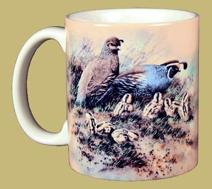Quail Family Ceramic Mug - Front