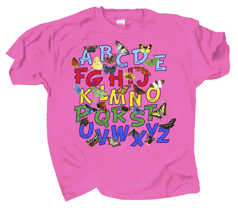Butterfly Alphabet Youth T-shirt - Front
