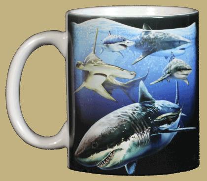 Sharks! Ceramic Mug - Front
