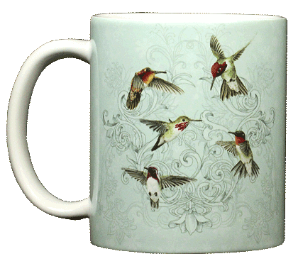 Hummingbird Lace Ceramic Mug - Front