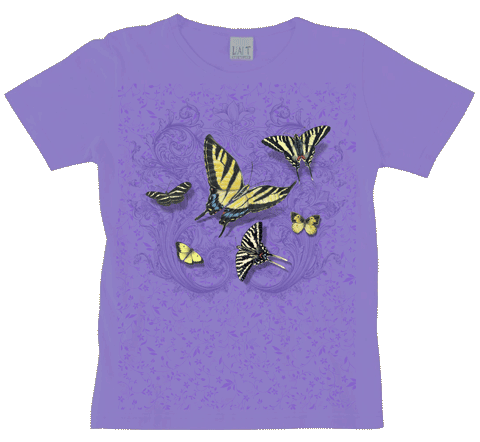 Butterfly Lace Ladies Scoop Neck T