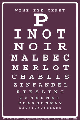 Wine Eye Chart Adult T-shirt