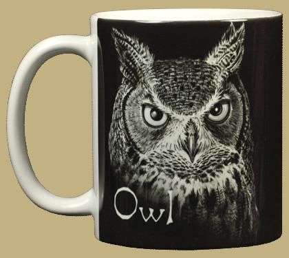 Discharge Owl Ceramic Mug