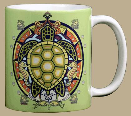 Sea Turtle Hex Ceramic Mug