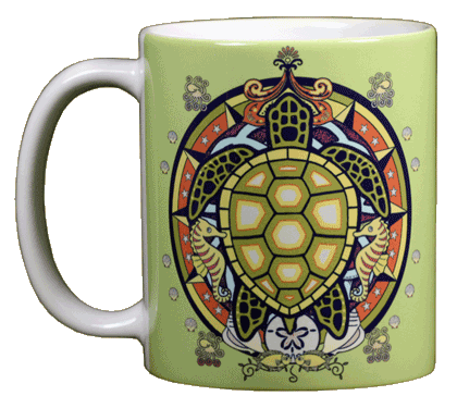 Sea Turtle Hex Ceramic Mug - Front