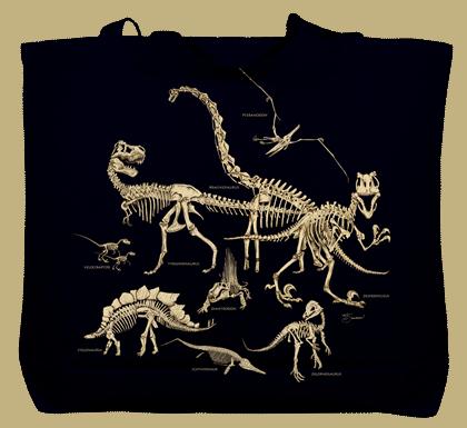 Dinosaur Bones Canvas Tote