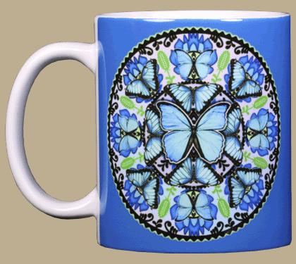 Morpho Butterfly Circle Ceramic Mug - Front