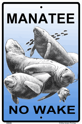 Manatee No Wake Sign