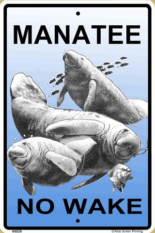 Manatee No Wake Sign