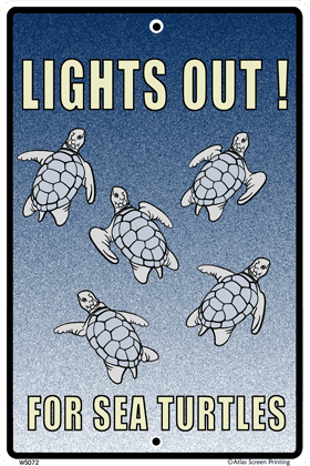 Lights Out for Turtles Warning Sign