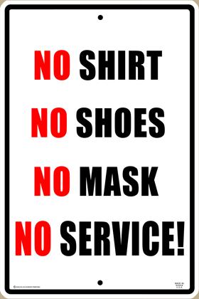 No Mask No Service Sign