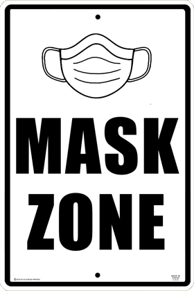 Mask Zone Warning Sign