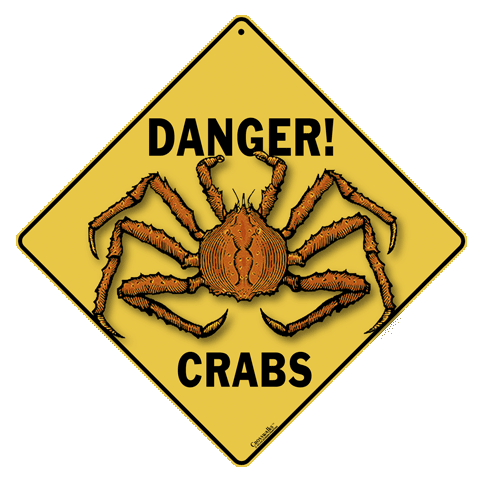 Danger! Crabs Crossing Sign