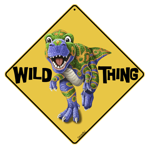 Dino Wild Thing Crossing Sign