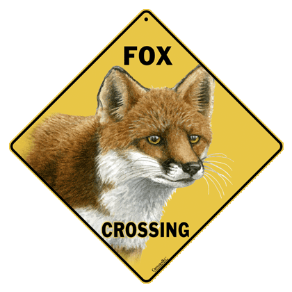 Red Fox Crossing Sign