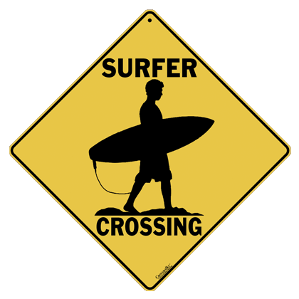 Surfer Crossing Sign - Front