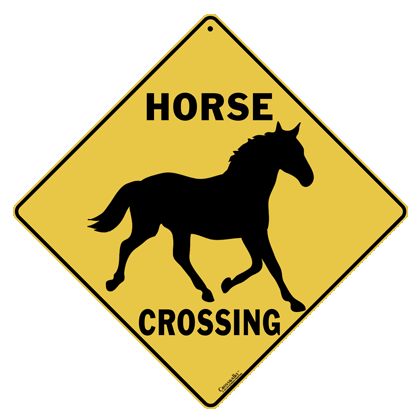 Horse Silhouette Crossing Sign