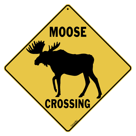 Moose Silhouette Crossing Sign